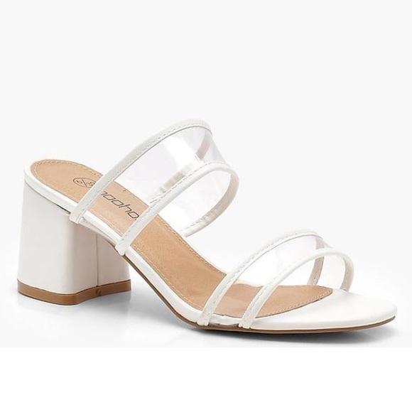 Boohoo Shoes | Boohoo White Clear Mules